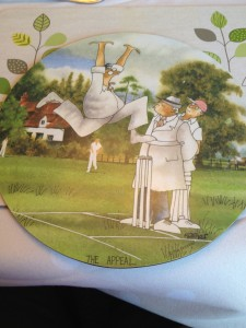 We've had dinner with the Wallaces two nights and Alex loves the cricket-themed place mats. He took photos of all of them and this was his favorite. Andrew played cricket when he was younger and was watching the England vs. India test match today.