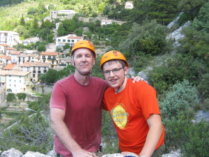 Alex and I at the end of the climb. I worked up just a bit of a sweat!