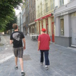 I have a photo of Kevin and Alex walking side by side from our 2012 trip (Berlin) so when I saw them walking together here I wanted to take a companion shot for the previous trip's photo.