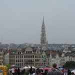 A view of the Grand-Place spire from a distance.